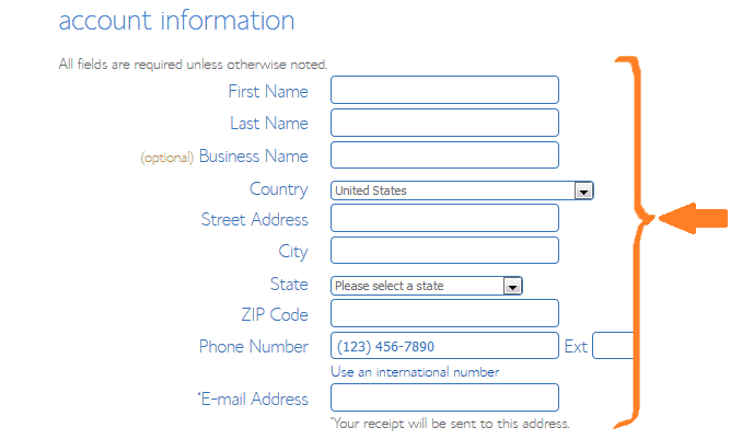 Bluehost - account information