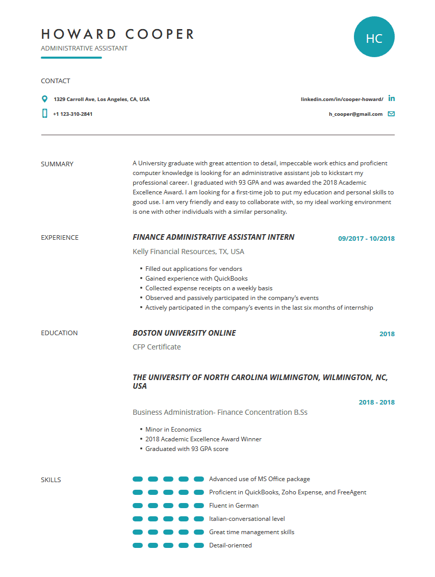 Administrative Assistant Resume Examples Template Complete Guide Cleverism