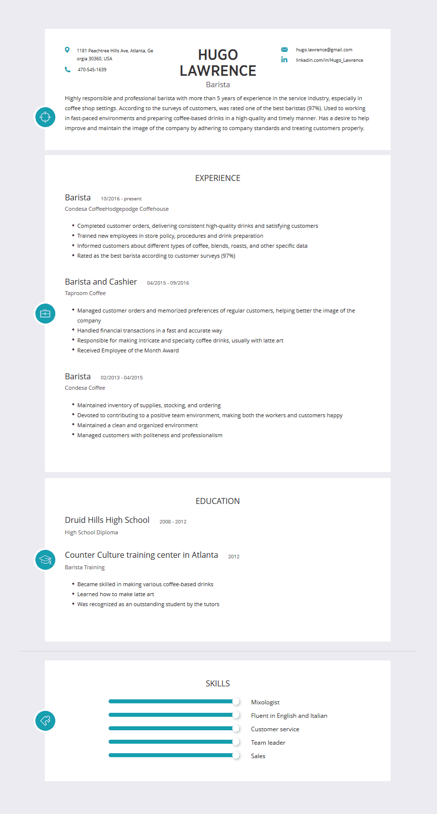 barista resume examples template and tips  cleverism
