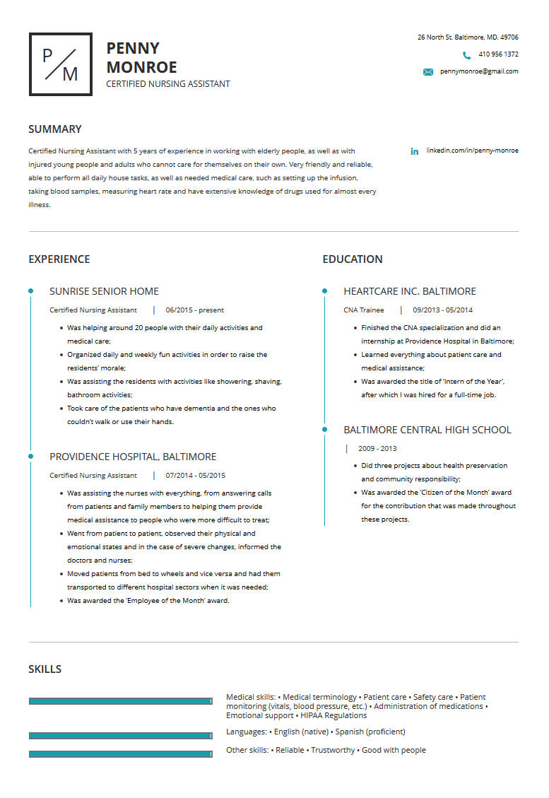 Cna Resume Examples Template Tips Cleverism