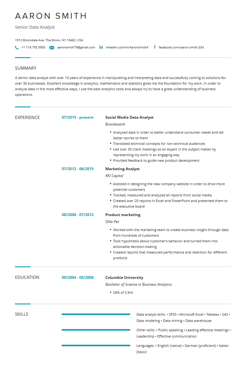 data analyst resume examples template  resume tips