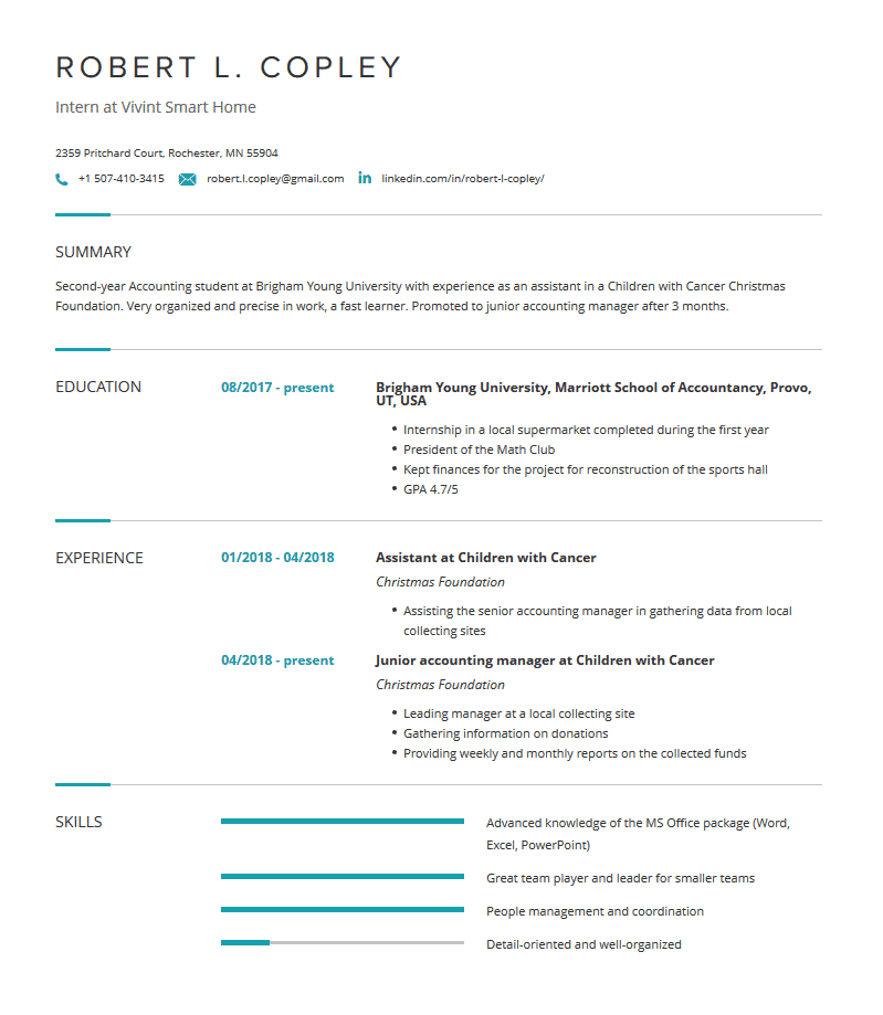 internship resume for college students  examples  u0026 guide