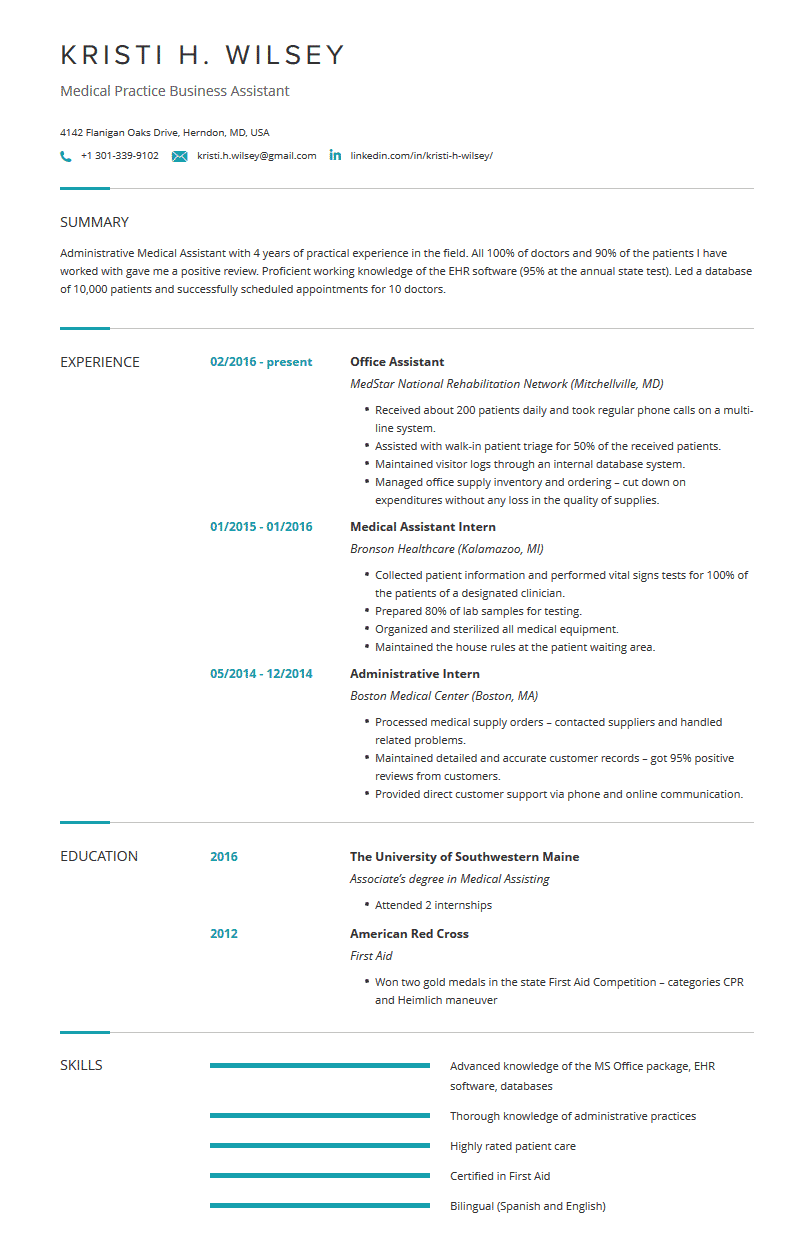 Medical Assistant Resume Examples Template Resume Tips Cleverism