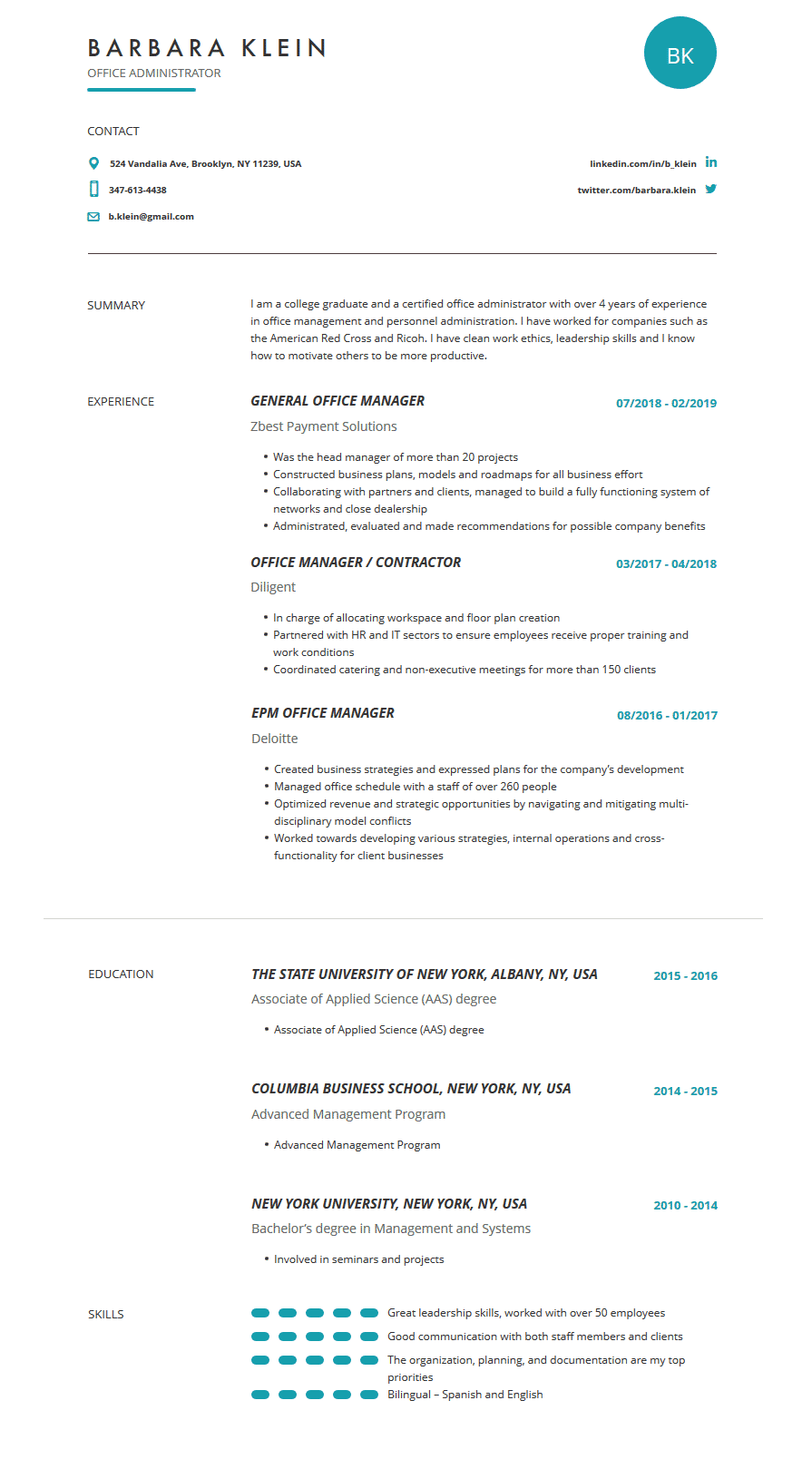 Office Manager Resume Template Examples Complete Guide Cleverism