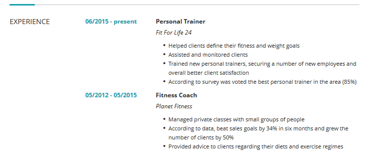 Personal Trainer Resume Examples Templates Complete Guide Cleverism