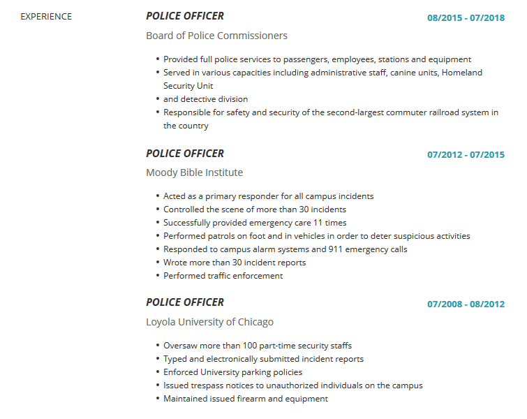 Police Officer Resume Examples Template Complete Guide Cleverism