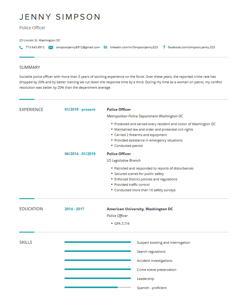 Police Officer Resume Examples, Template & Complete Guide   Cleverism