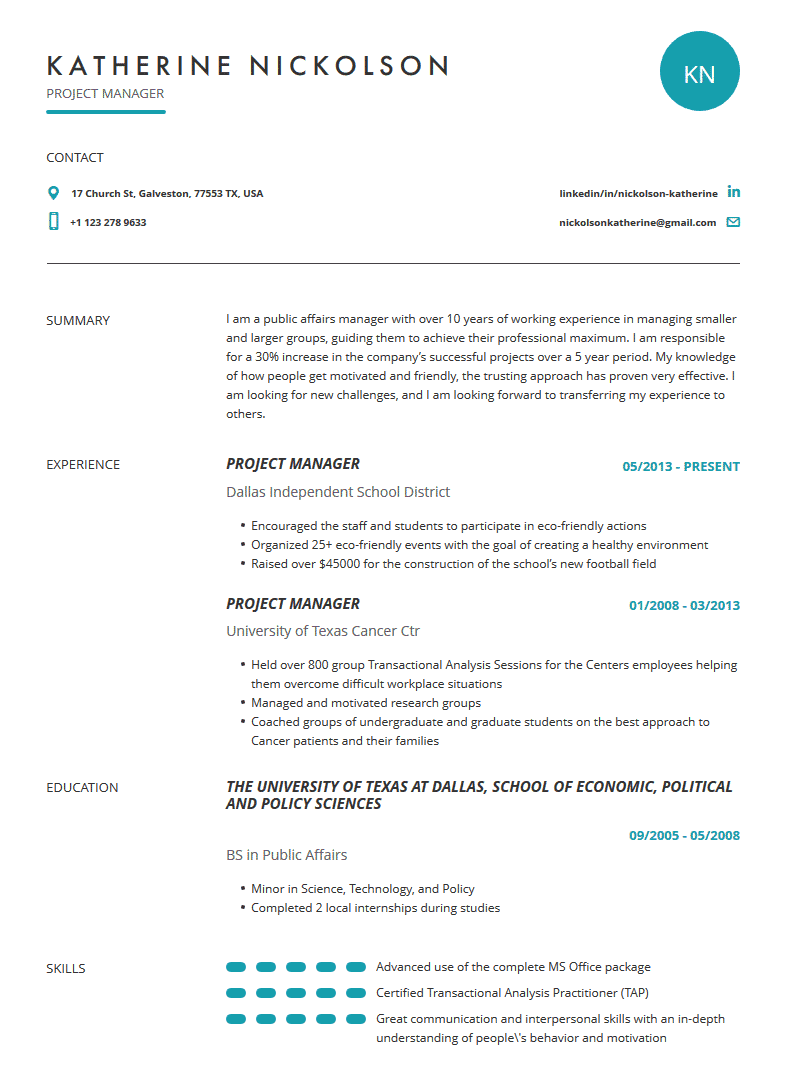 Project Manager Resume Examples Template And Tips Cleverism