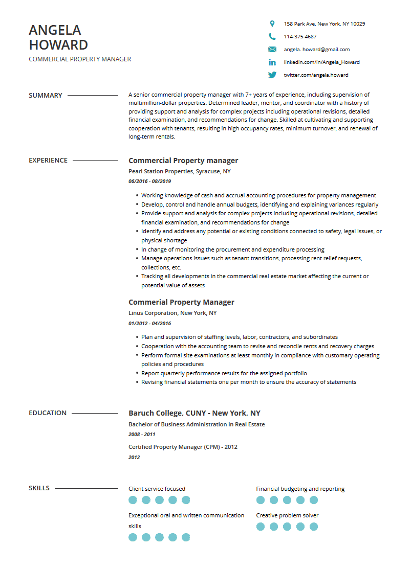 property manager resume examples template  complete