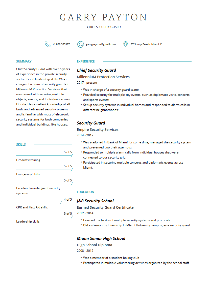 security guard resume examples template  complete guide