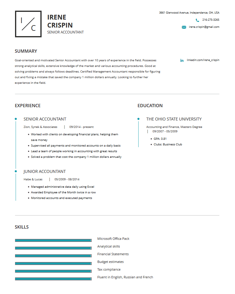 Accountant Resume Examples Template And Resume Tips Cleverism