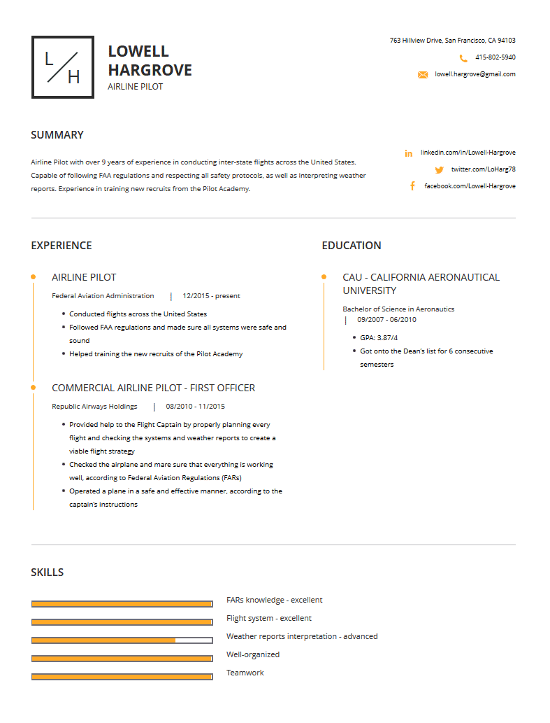 airline pilot resume examples template and resume tips