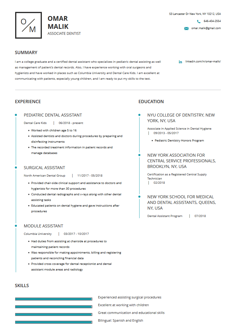 Dental Assistant Resume Examples Template And Resume Tips