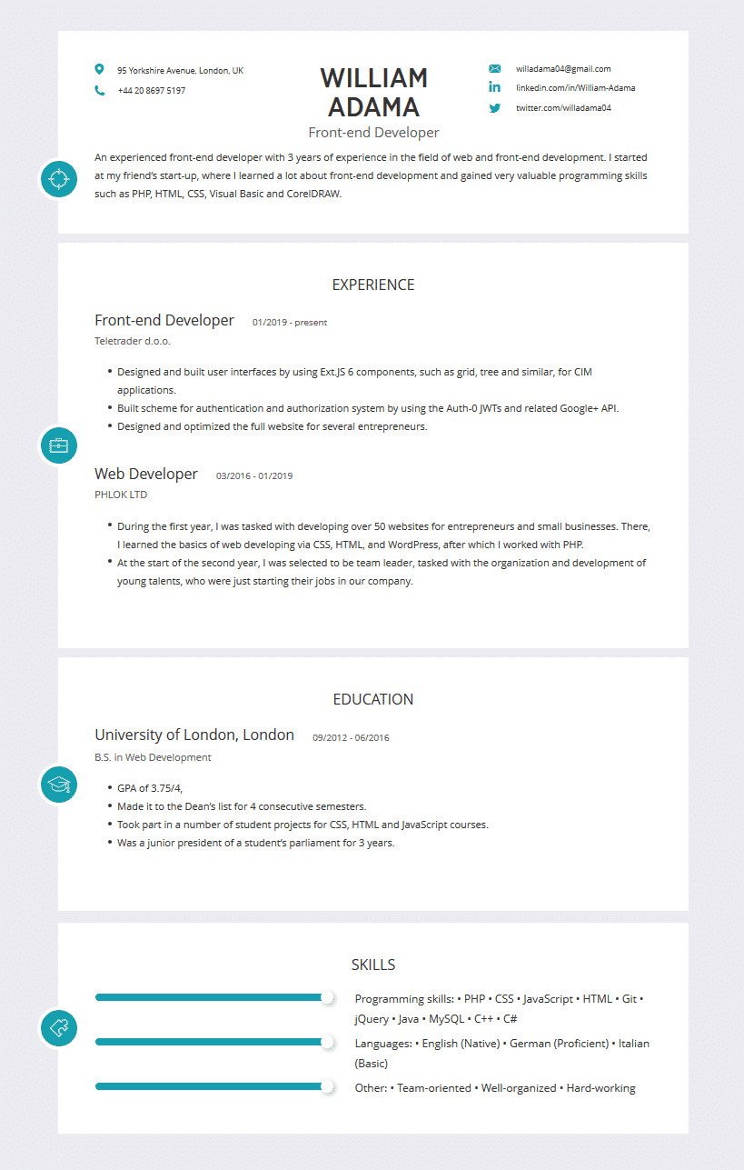 Web Developer Resume Examples Template Best Tips Cleverism