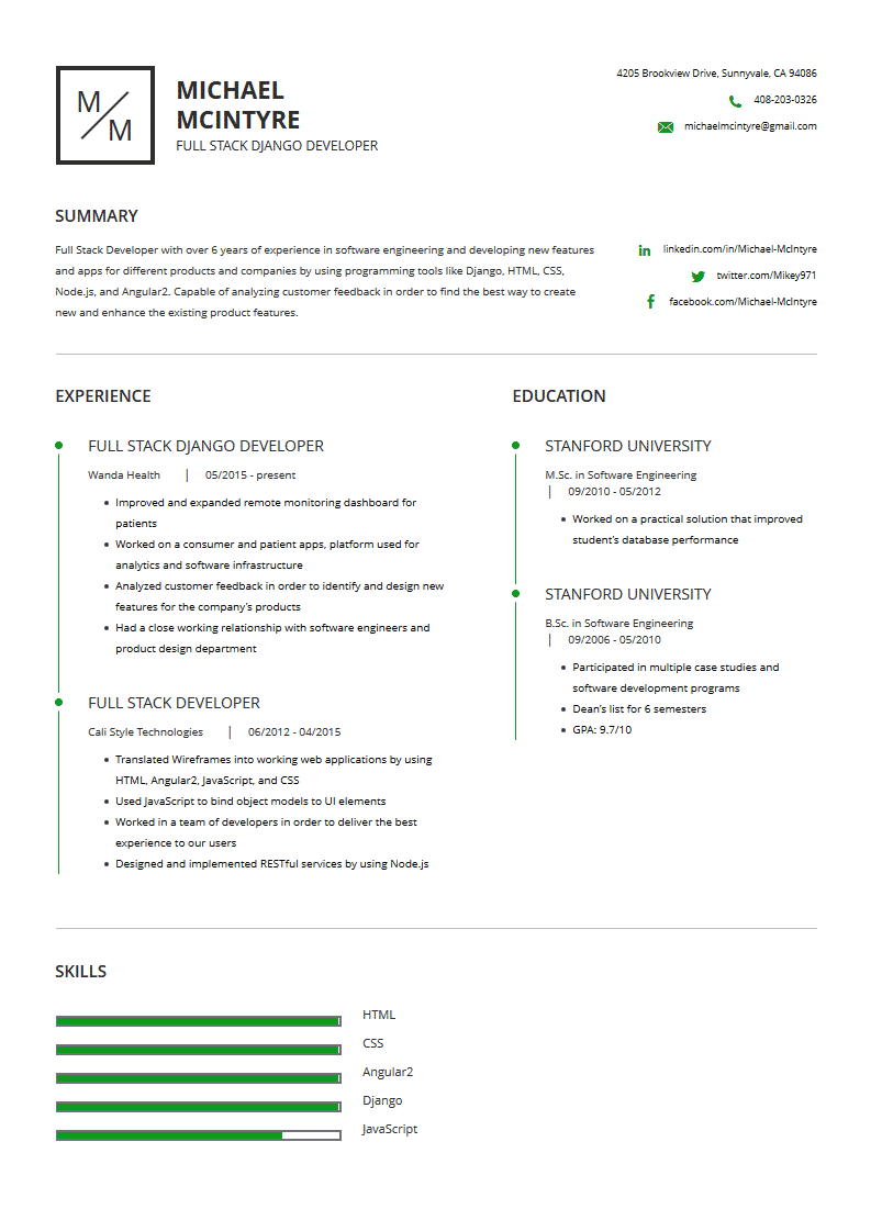 full stack developer resume examples template and