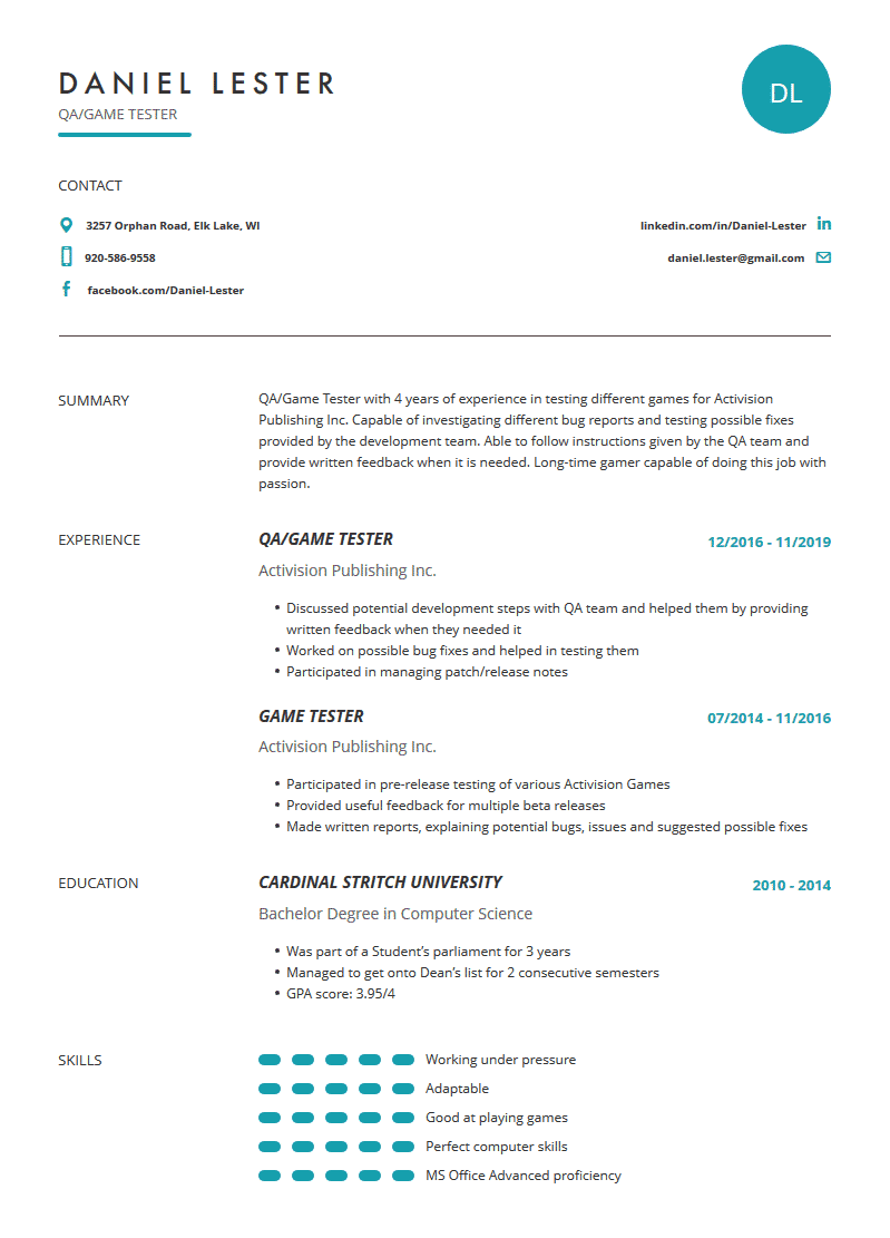Game Tester Resume Examples Template And Resume Tips Cleverism