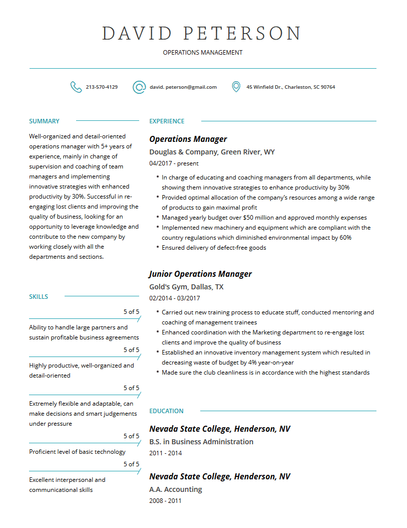 Operations Manager Resume Examples Template And Resume Tips