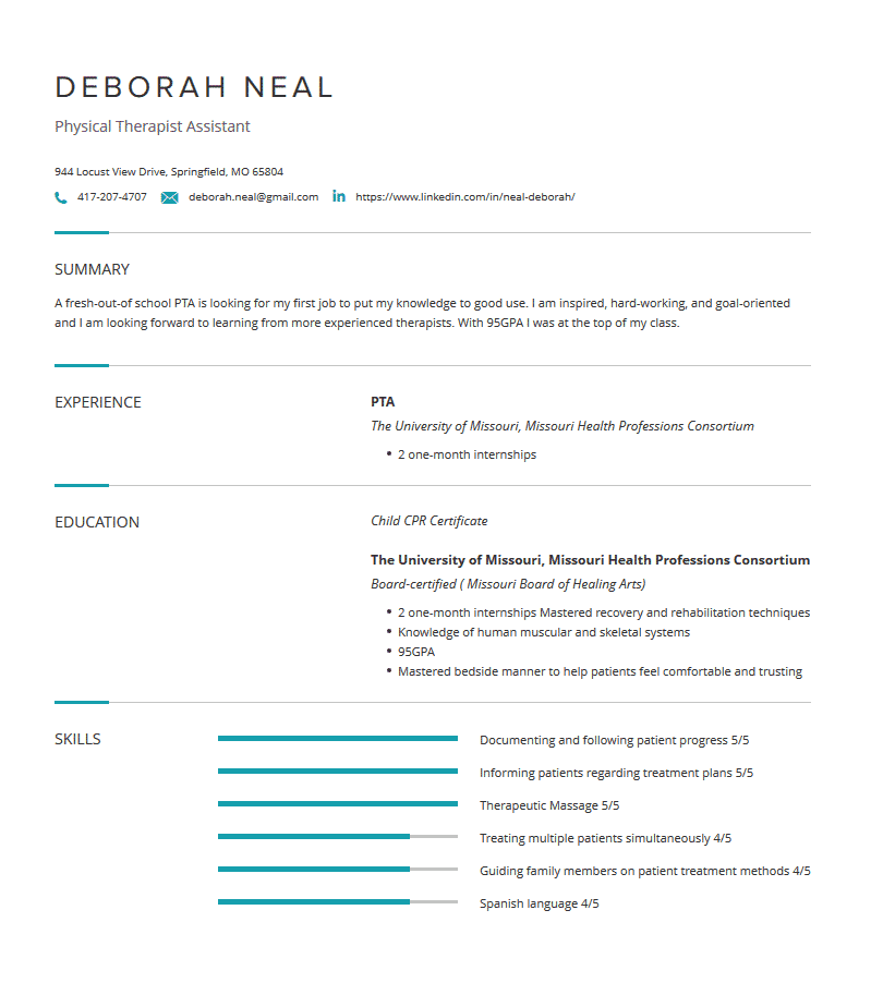 physical therapist assistant resume examples template
