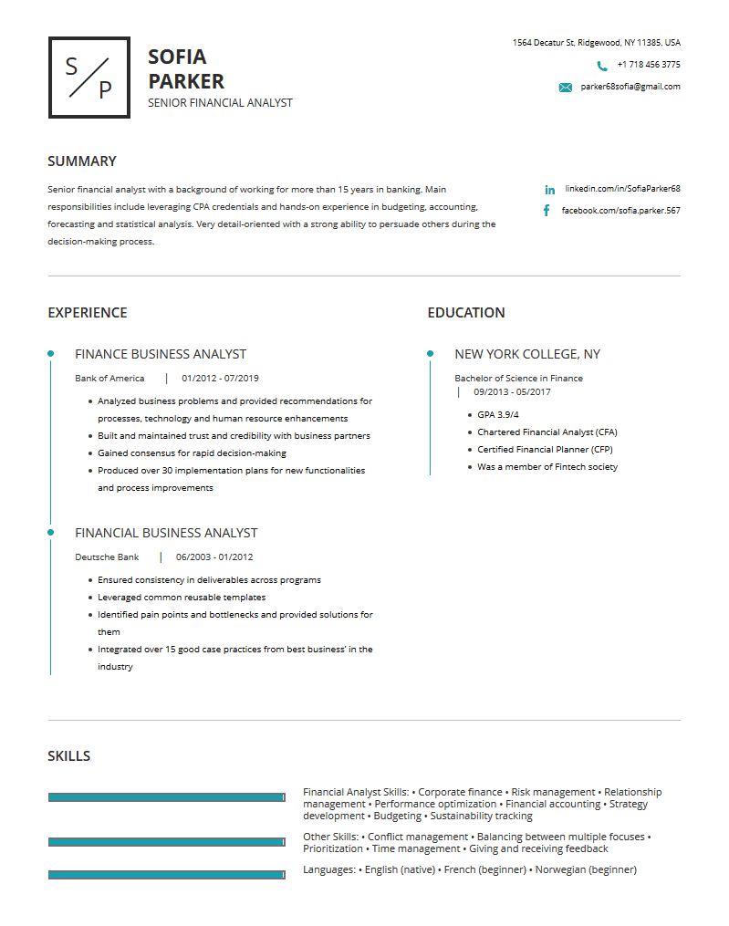financial analyst resume examples template and resume
