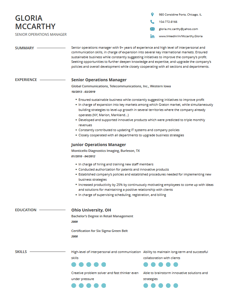 operations manager resume  examples template and resume
