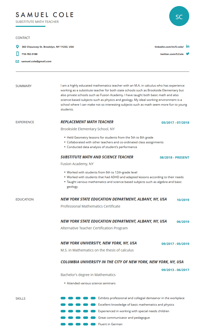 substitute teacher resume examples template and resume