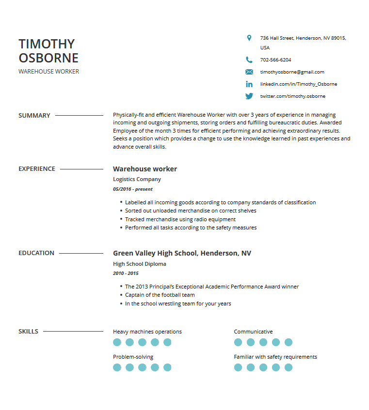 warehouse resume  examples  template  and resume tips