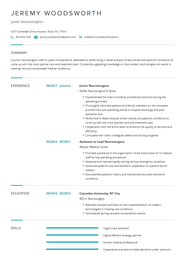 neurosurgeon resume  examples  template  and resume tips
