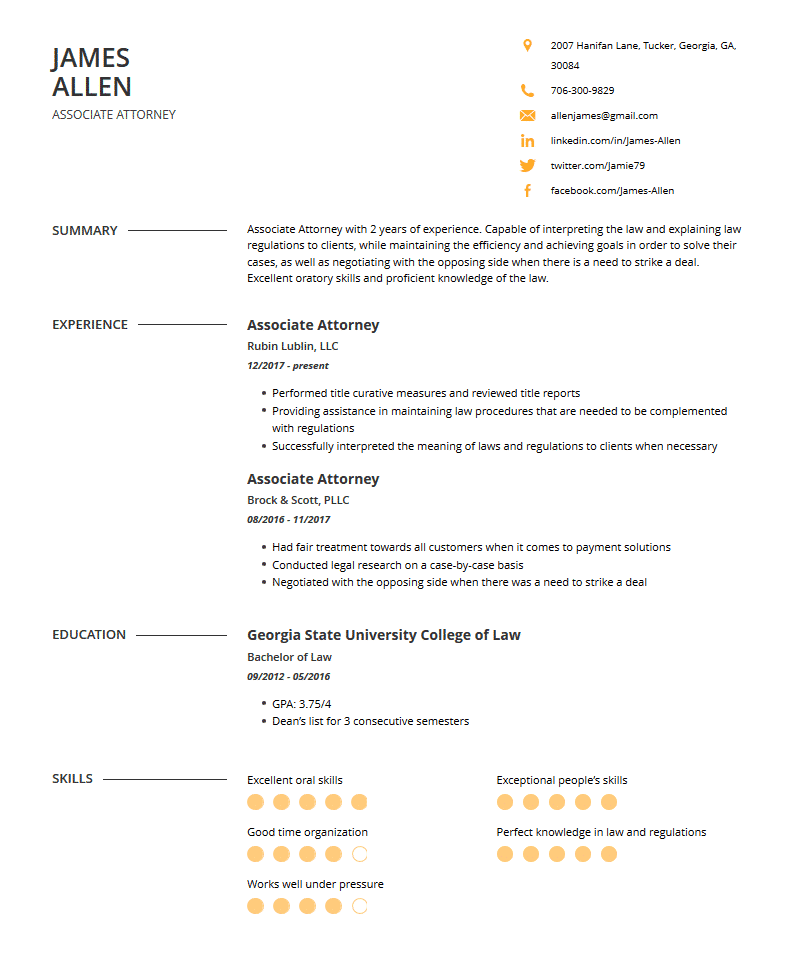 lawyer resume examples template and resume tips  cleverism