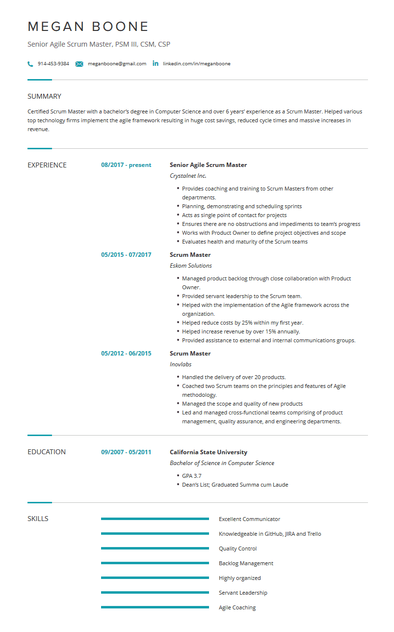 Scrum Master Resume Examples Template And Resume Tips