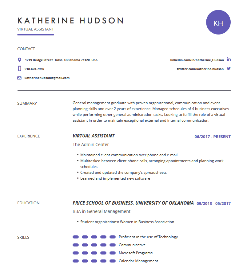 virtual assistant resume  examples  template  and resume
