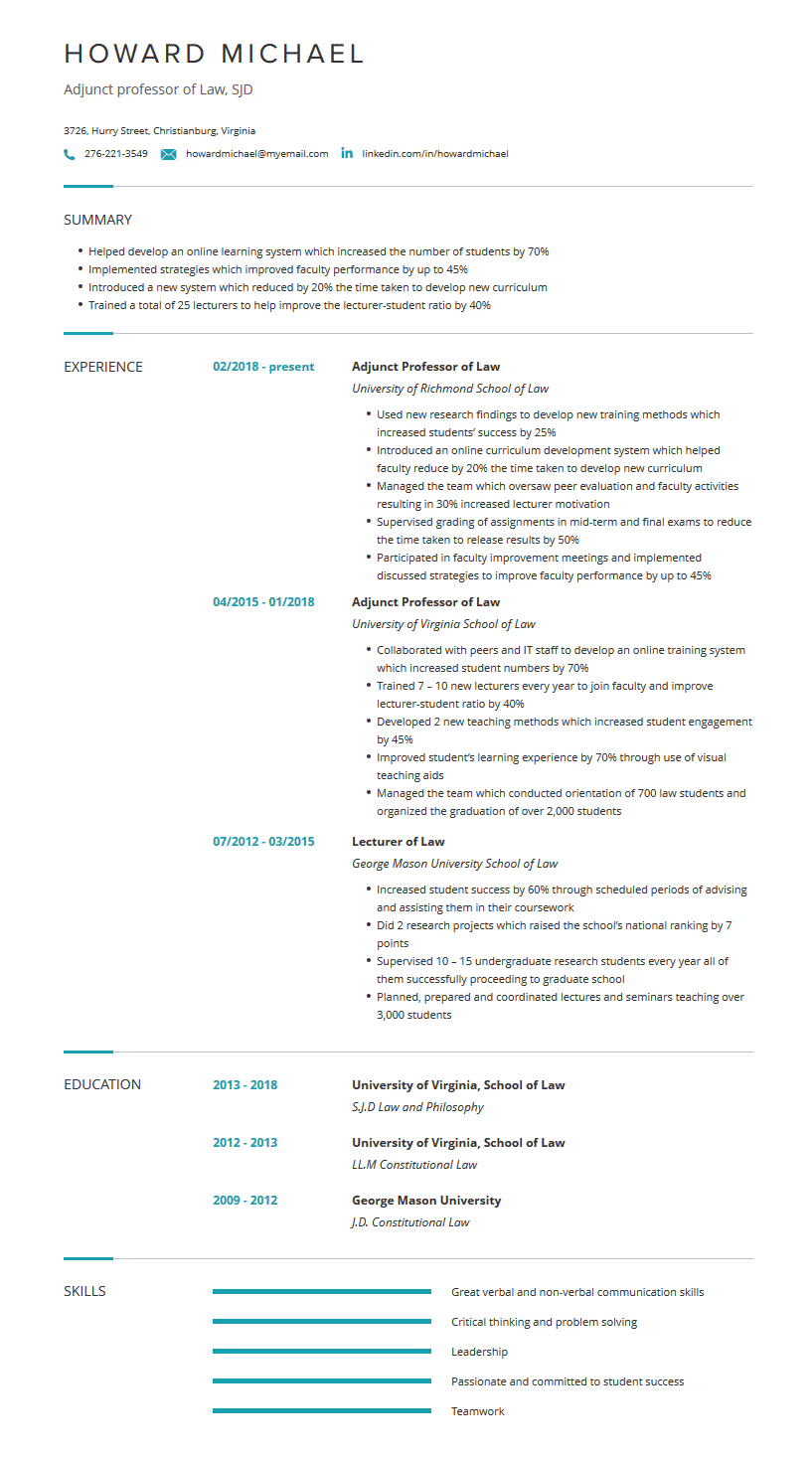 Professor Resume Examples Template And Resume Tips Cleverism