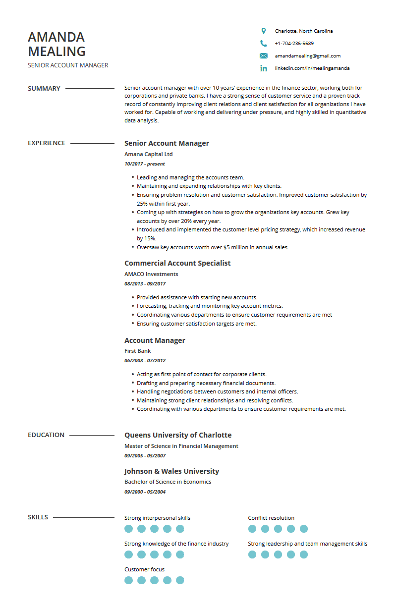 Account Manager Resume Examples Template And Resume Tips
