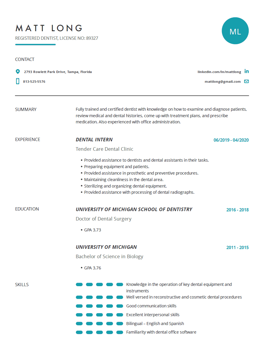 dentist resume examples template and resume tips