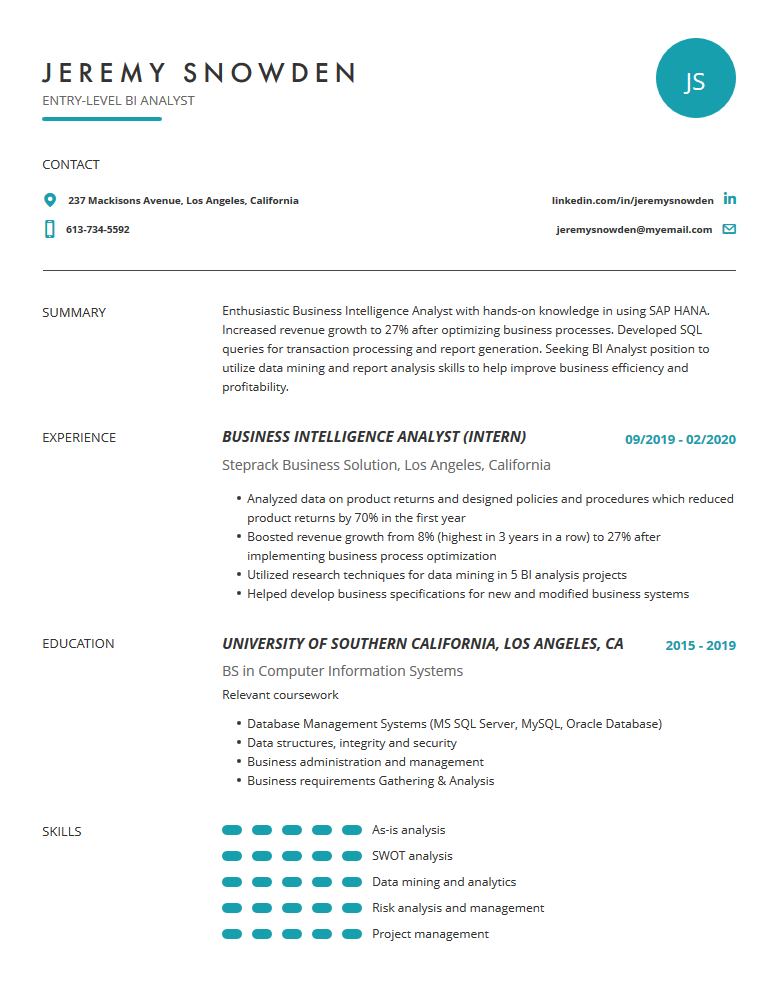 business intelligence analyst resume examples template