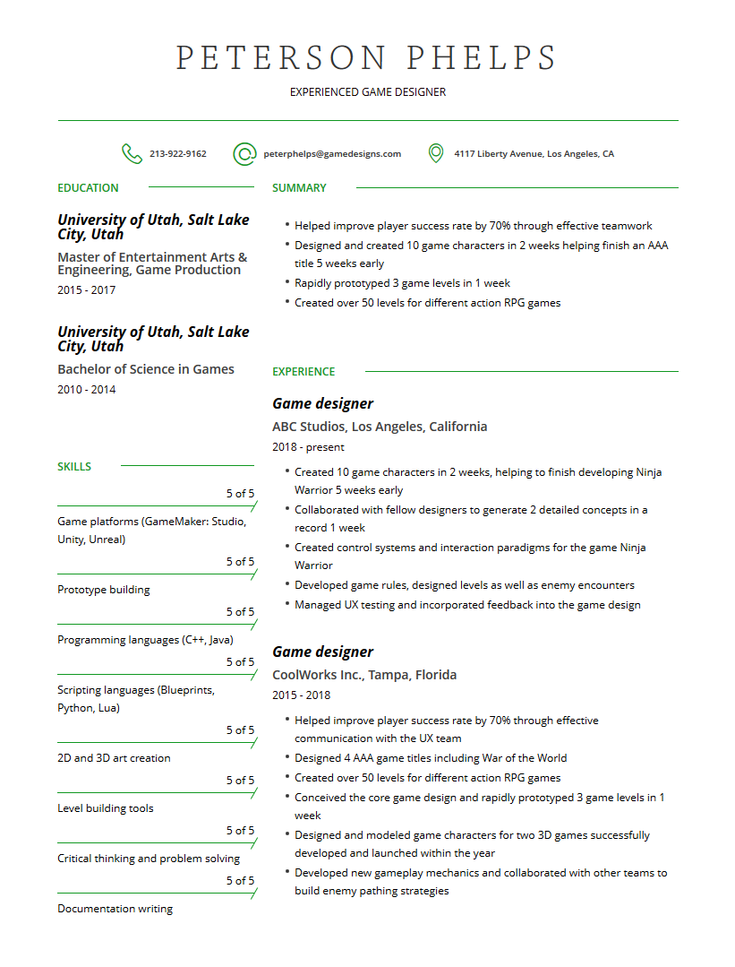 Game Designer Resume Examples Template And Resume Tips
