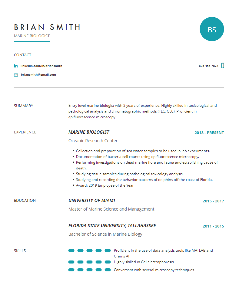 Marine Biologist Resume Examples Template And Resume Tips