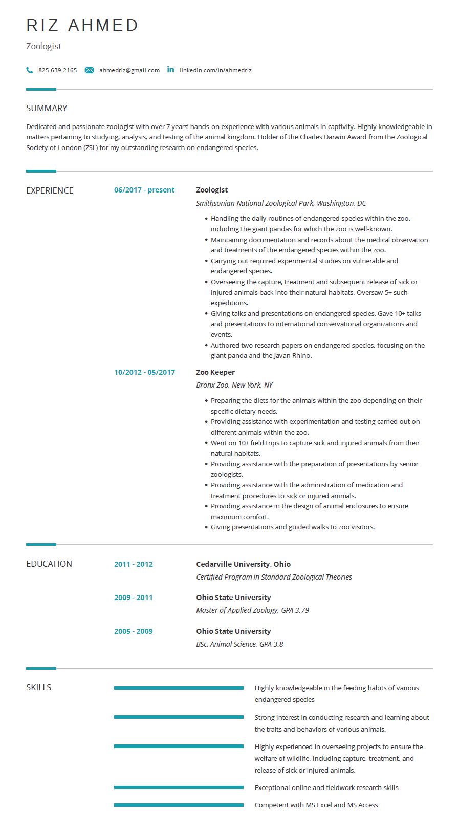 Zoologist Resume Examples Template And Resume Tips Cleverism