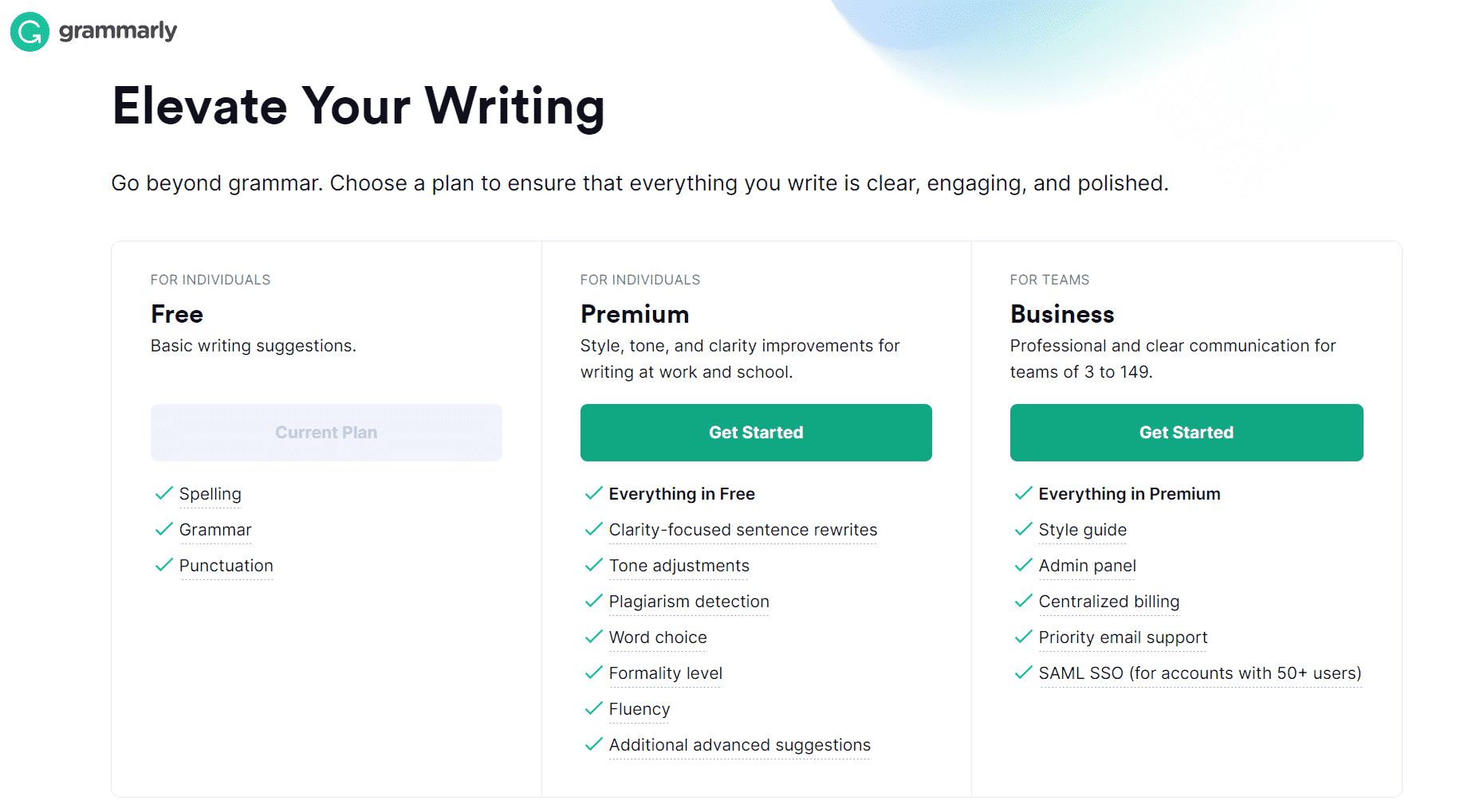 Grammarly - Elevate your writing - Plans